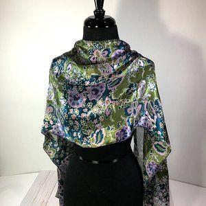 Cejon Accessories Green, Teal, Purple Silk Scarf